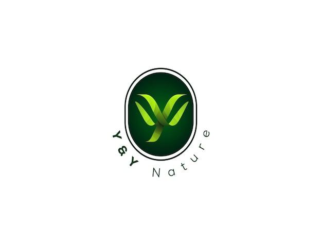 Y letter blad logo met natuurlijke stijl