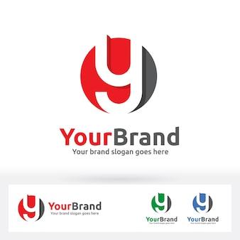 Y letter logo, y letter in een cirkel badge.