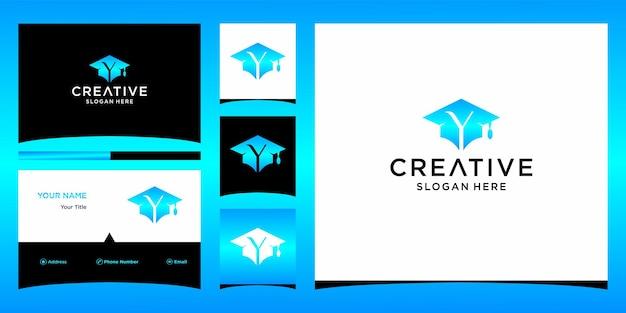 Y logo school afstuderen cap letter initialen met sjabloon voor visitekaartjes