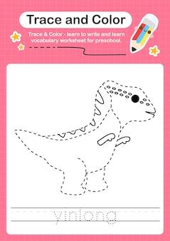 Y traceringswoord voor dinosaurussen en kleurend traceerwerkblad met het woord yinlong