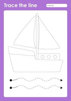 Yacht - tracing lines voorschools werkblad voor kinderen voor het oefenen van fijne motoriek