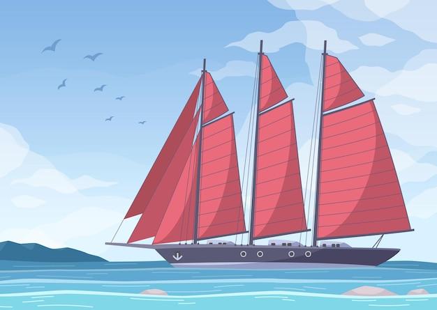 Yachting cartoon compositie met mariene landschap heldere hemel met vogels en groot jacht