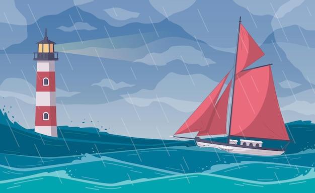 Yachting cartoon compositie met open zee landschap bij regenachtig weer met rood zeiljacht