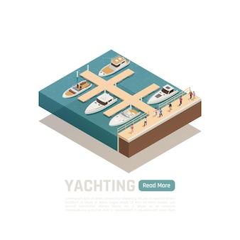 Yachting isometrische banner gekleurde compositie met vijf verschillende boten en groene lees meer knopillustratie,