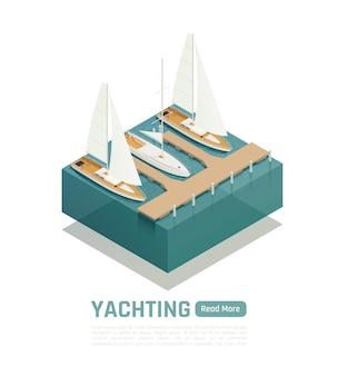 Yachting isometrische compositie met groene lees meer knop en vierkant stuk land en bootillustratie,