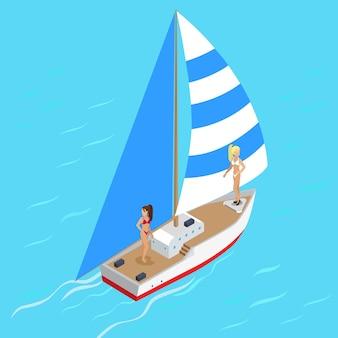 Yachting jacht met meisjes concept.