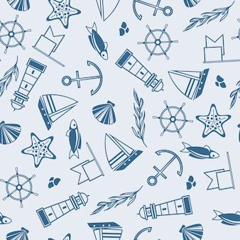 Yachting naadloos patroon met veel maritieme elementen zoals coquille, zeewier, stenen op het blauw