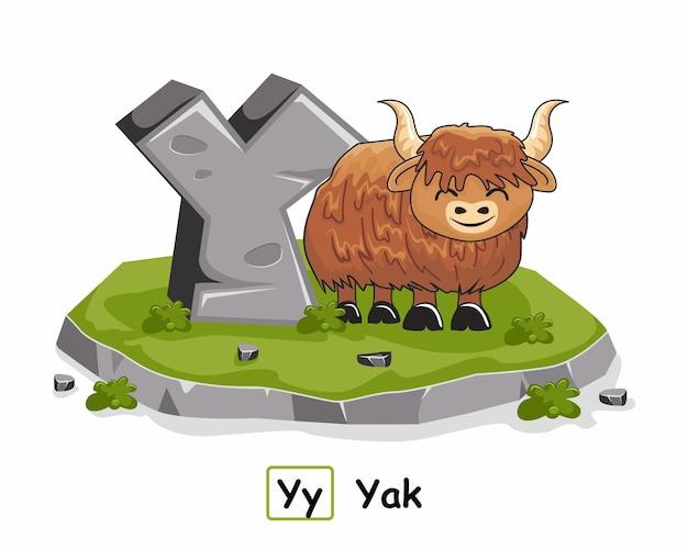 Yak dieren rock steen alfabet letter y