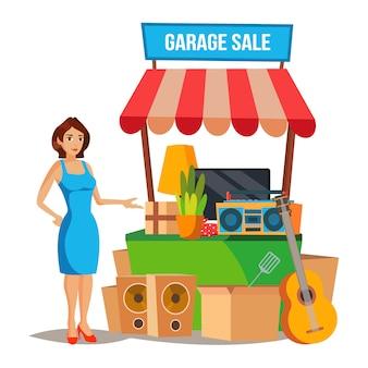 Yard sale vector. verkoop van huishoudelijke artikelen