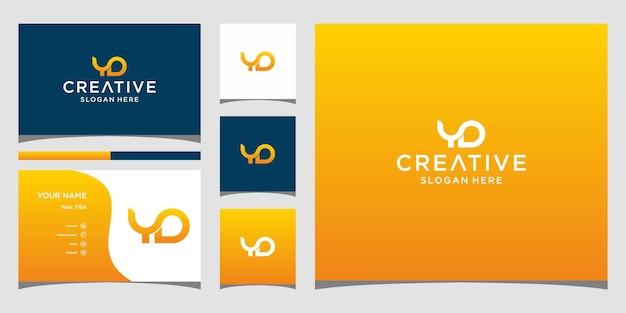 Yd-logo-ontwerp met sjabloon voor visitekaartjes
