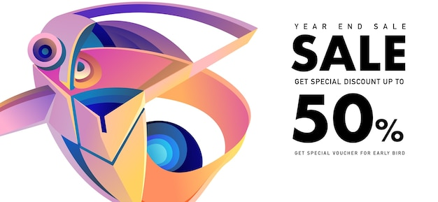 Year end sale 50% korting banner