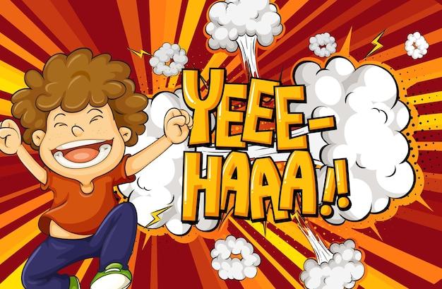 Yeee-haa-woord op explosieachtergrond met het karakter van het jongensbeeldverhaal