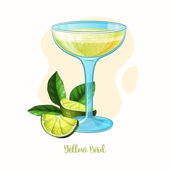 Yellow bird cocktailglas met limoen