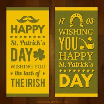 Yellow saint patrick's day banners