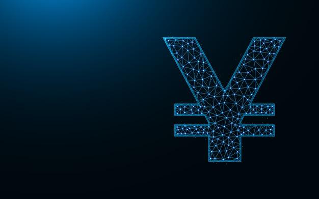 Yen symbool laag poly ontwerp, valuta in veelhoekige stijl