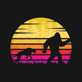Yeti en cheetah zonsondergang retro vectorillustratie