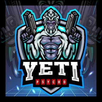 Yeti gunners mascotte esport logo ontwerp