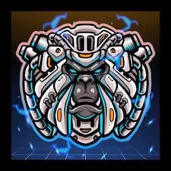 Yeti hoofd mecha robot mascotte esport logo ontwerp