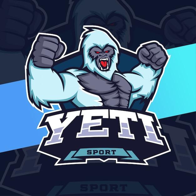 Yeti mascotte esport logo ontwerp