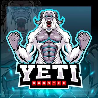 Yeti monster mascotte esport logo ontwerp