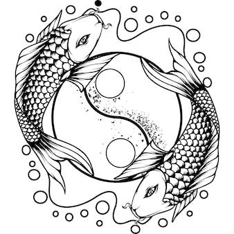 Yin yang koi vissen japan silhouet