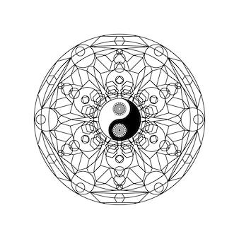 Yin yang-symbool in oost-geometrische patroon cirkel geïsoleerd op een witte achtergrond vectorillustratie. traditioneel mandalateken voor yoga- of meditatieconcept