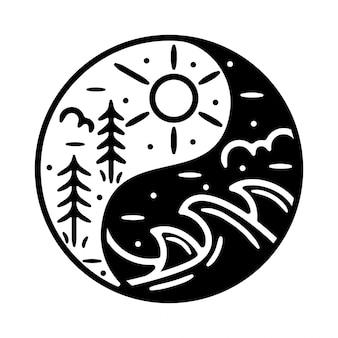 Ying en yang monoline vintage outdoor badge-ontwerp