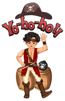 Yo ho ho-lettertype met een stripfiguur van een piratenman Gratis Vector