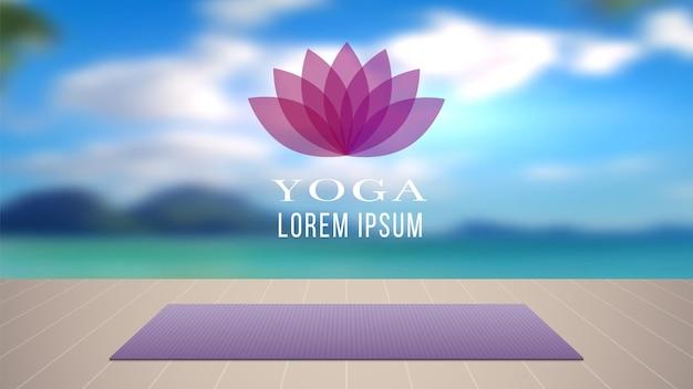 Yoga achtergrond. meditatie-ontspanningsplaats met tapijt op houten vloer.