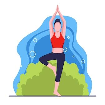 Yoga activiteiten platte ontwerp illustratie