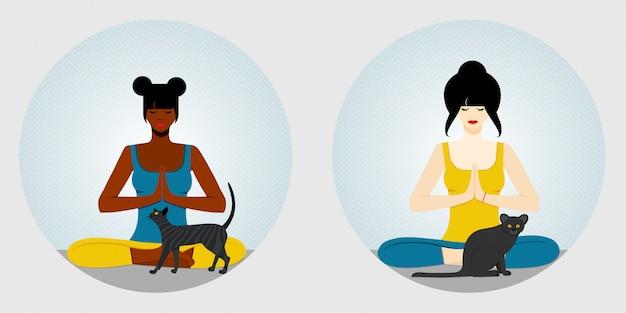 Yoga. afro-amerikaanse en europese vrouw zit in een lotuspositie, in kleermakerszit en mediteert. naast de vrouw zit katten. illustratie.