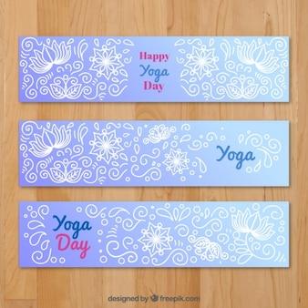 Yoga banner set met bloem tekeningen