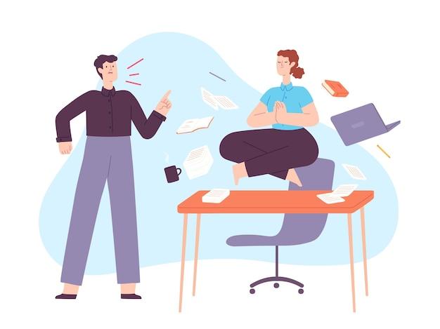 Yoga bij kantoorstress. kalme vrouw mediteert in lotus op het bureau met een boze schreeuwende baas. werknemer in zen op werkplek chaos vector concept. illustratie medewerker meditatie en ontspanning
