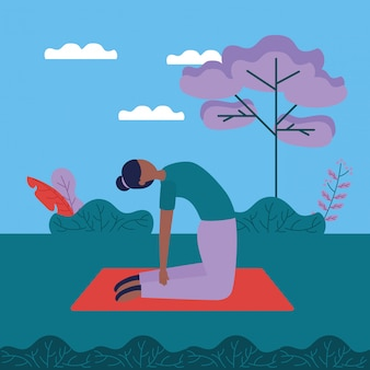 Yoga buiten in vlakke stijl
