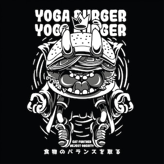 Yoga burger black n white