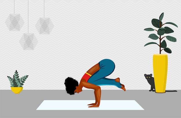 Yoga, concept van meditatie, gezondheidsvoordelen voor het lichaam.
