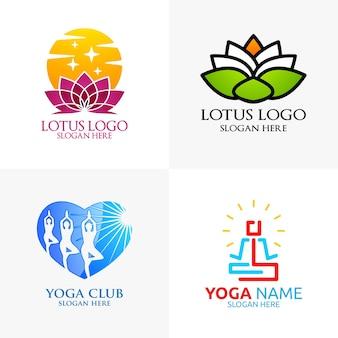 Yoga en lotus flower logo met health spa concept en menselijk silhouet
