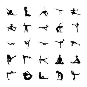 Yoga en meditatie pictogrammen