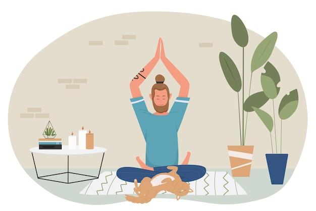 Yoga en meditatie thuis illustratie