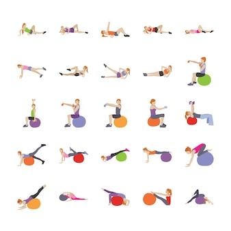 Yoga en menselijke oefeningen platte vectoren