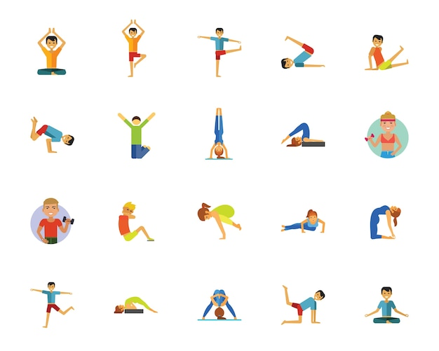 Yoga, fitness en gezondheid pictogramserie