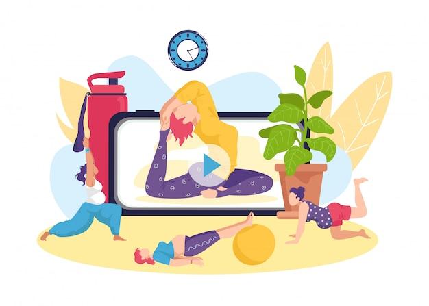 Yoga fitness oefening voor zwangere vrouw, online gezonde activiteit illustratie. zwangerschap gezondheid door sport training levensstijl, moeder prenatale training. moederschap concept.