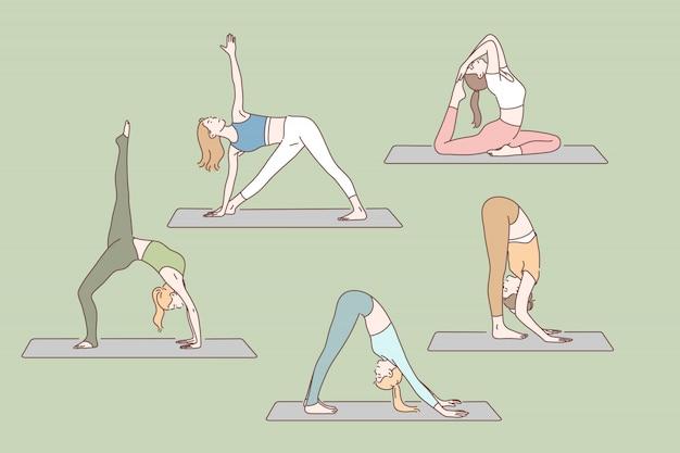 Yoga, gezondheid, asanas concept instellen