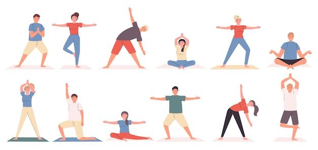 Yoga houdingen en oefeningen platte set