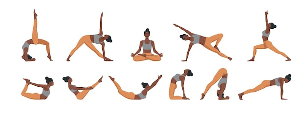 Yoga houdingen ingesteld. vrouw beoefenen van meditatie en stretching.