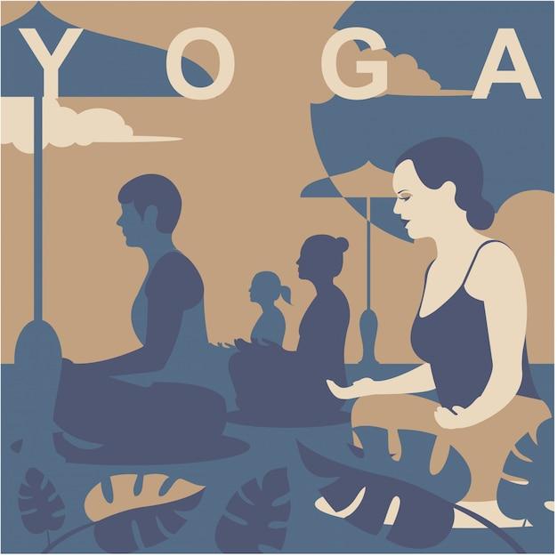Yoga illustratie achtergrond