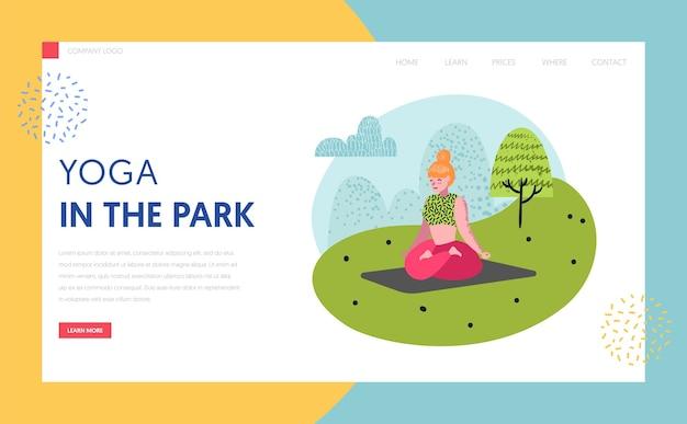 Yoga in de sjabloon van de bestemmingspagina van het park. outdoor training actieve mensen karakters mediteren, yoga doen voor website of webpagina. gemakkelijk te bewerken. vector illustratie
