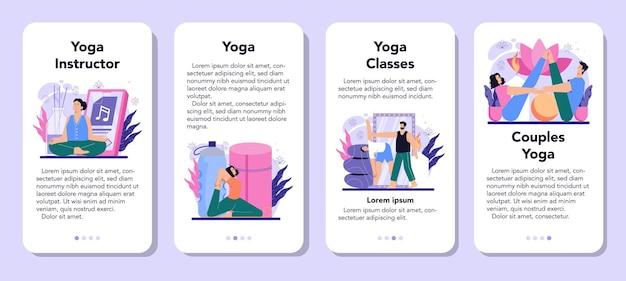 Yoga-instructeur mobiele applicatie banner set asana of oefening