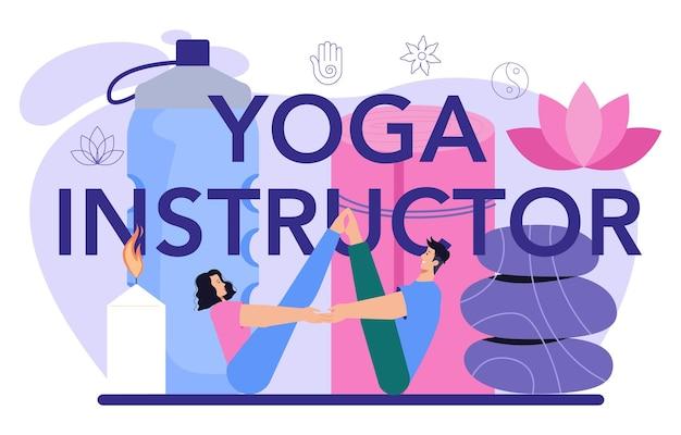 Yoga-instructeur typografische header asana of oefening voor mannen en vrouwen