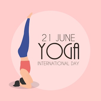 Yoga internationale dag 21 juni achtergrond. illustratie